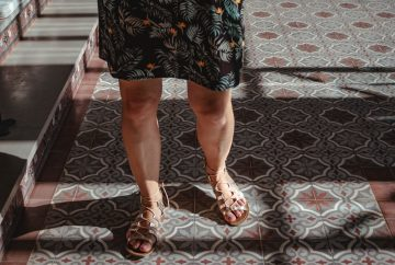 Picture of person walking in sandals