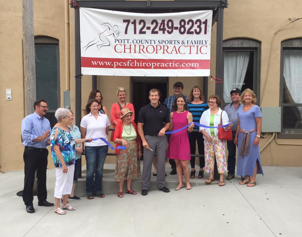 Ribbon cutting for Pott. County Sports & Family Chiropractic in Oakland, Iowa
